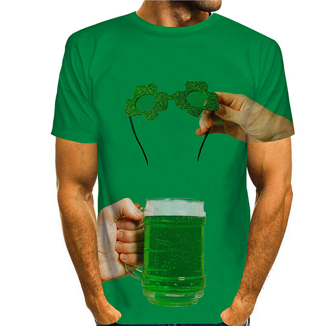 Men's T shirt 3D Print Graphic Prints Beer Saint Patrick Day 3D Print Short Sleeve Daily Tops Casual Fashion Green