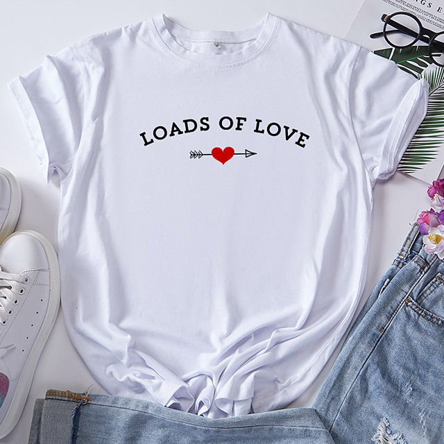 Women's T shirt Graphic Heart Letter Print Round Neck Tops 100% Cotton Basic Basic Top White Blue Red