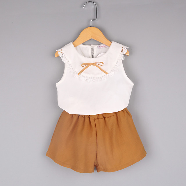 Kids Girls' Clothing Set Daily Wear Solid Colored Lace Bow Sleeveless Active Basic White