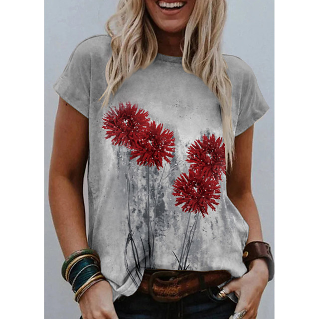 Women's T shirt Graphic Floral 3D Print Round Neck Tops Basic Basic Top Gray