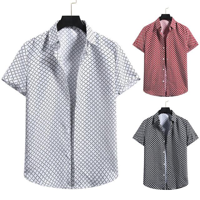 Men's Shirt 3D Print Graphic Prints Print Short Sleeve Vacation Tops White Black Red