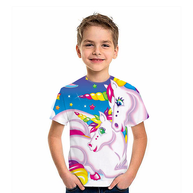Kids Boys' T shirt Tee Short Sleeve Unicorn Graphic 3D Animal Print Children Tops Active Rainbow