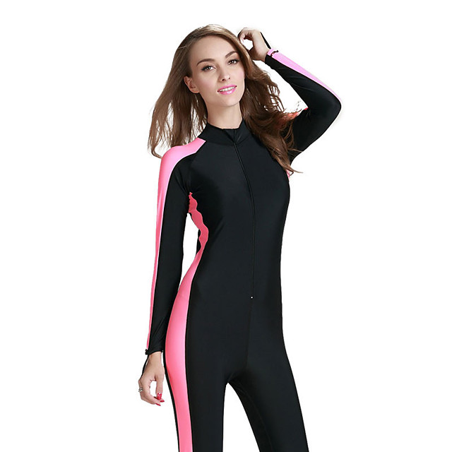 Women's Classic Modern Swimsuit Solid Color Color Block Tummy Control Zipper Bodysuit Normal High Neck Swimwear Bathing Suits Black Blue Yellow / Sports