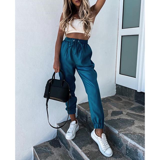 Women's Stylish Streetwear Comfort Casual Daily Chinos Pants Plain Full Length Pocket Elastic Drawstring Design Blue Blushing Pink Khaki
