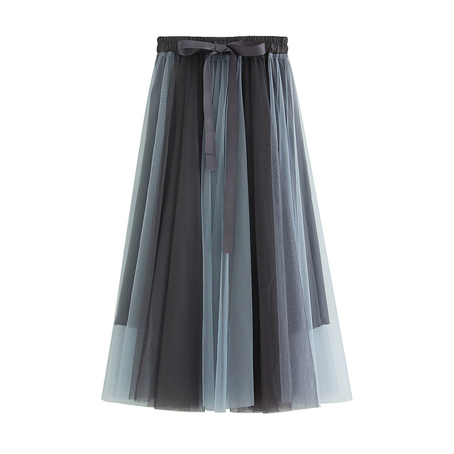 Women's Vacation Going out Elegant Sophisticated Skirts Color Block Layered Pleated Patchwork Black Brown Gray