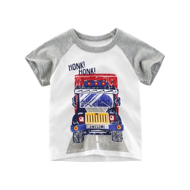 Kids Boys' T shirt Tee Graphic Short Sleeve Print Tops Cotton Streetwear White
