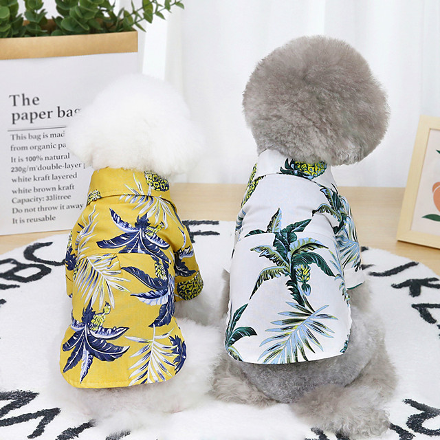 Dog Cat Shirt / T-Shirt Plants Hawaii Basic Adorable Cute Dailywear Casual / Daily Dog Clothes Puppy Clothes Dog Outfits Breathable White Yellow Costume for Girl and Boy Dog Cotton S M L XL XXL