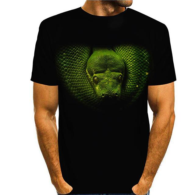 Men's T shirt 3D Print Snakeskin Graphic Prints 3D Print Short Sleeve Daily Tops Casual Fashion Black