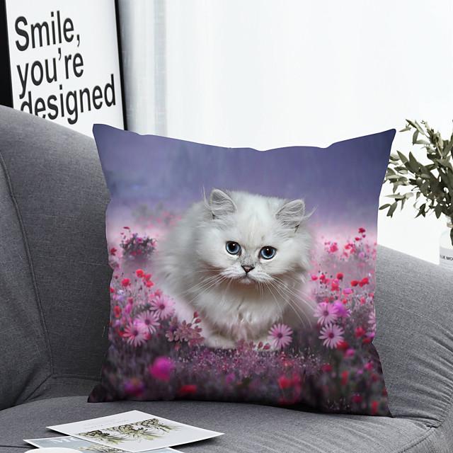 1 pcs Polyester Pillow Cover Pillow Cover & Insert, Floral Simple Classic Square Zipper Polyester Traditional Classic