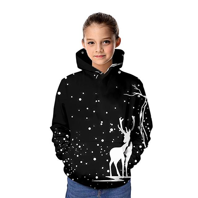 Kinderen Voor meisjes Hoodie & Sweatshirt Kerstmis Lange mouw Kerstmis Tops Basic Zwart