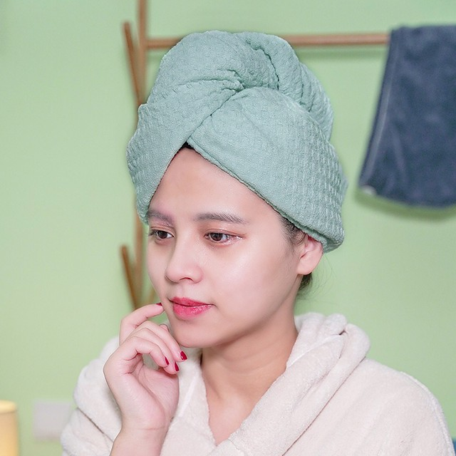 Waffle Microfiber Hair Towel Wrap Dry Hair Hat Bath Hair Cap Hair Drying Towel with Button