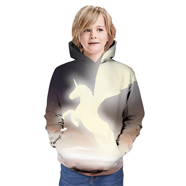 Kids Boys' Hoodie & Sweatshirt Long Sleeve Unicorn Graphic 3D Animal Print Children Tops Active Dusty Rose