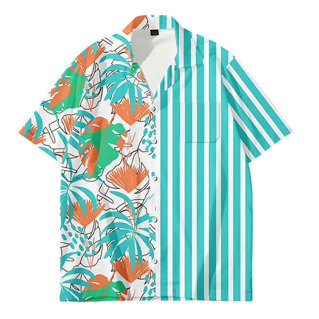 رجالي قميص مطبوعات أخرى ورد زر أسفل طباعة كم قصير مناسب للبس اليومي قمم كاجوال موضة ستايل هاواي أزرق أزرق البحرية