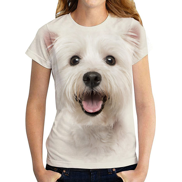 Women's T shirt Dog Graphic 3D Print Round Neck Tops Basic Basic Top White