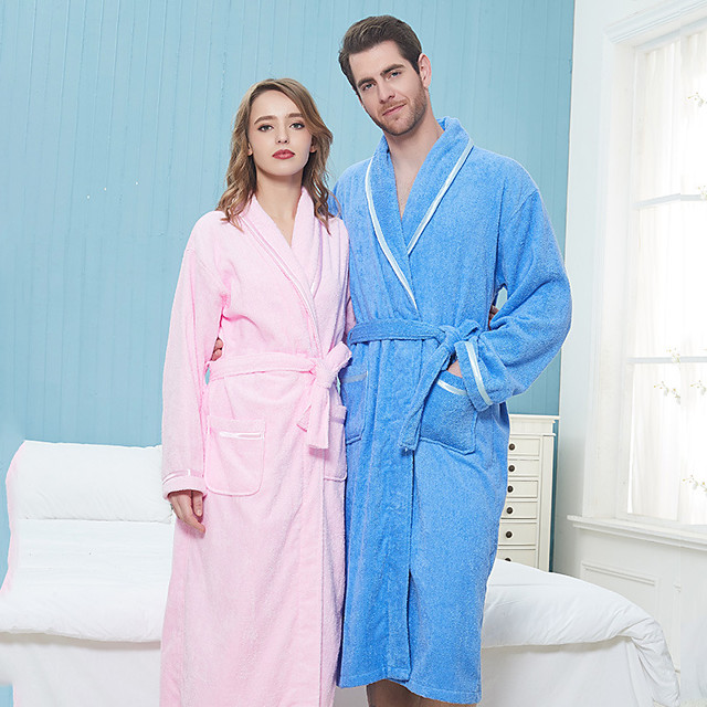 Superior Quality Bath Robe, Solid Colored Pure Cotton Bedroom / Bathroom 1 pcs
