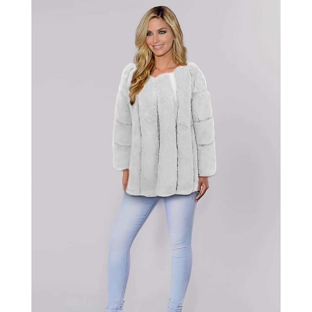 Kadın's Suni Kürk Günlük Bahar Sonbahar Kış Normal Ceket V Yaka Normal Zarif & Lüks Ceketler Uzun Kollu Solid Kürk Doğal Pembe Beyaz