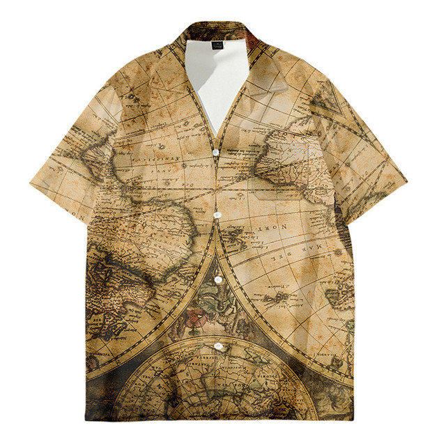 Men's Shirt 3D Print Map Button-Down 3D Print Short Sleeve Daily Tops Casual Fashion Hawaiian Yellow Light Brown Khaki