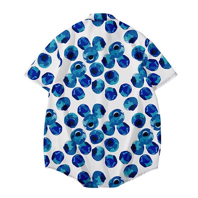 رجالي قميص طباعة ثلاثية الأبعاد فاكهة زر أسفل طباعة ثلاثية الأبعاد كم قصير مناسب للبس اليومي قمم كاجوال موضة ستايل هاواي أزرق