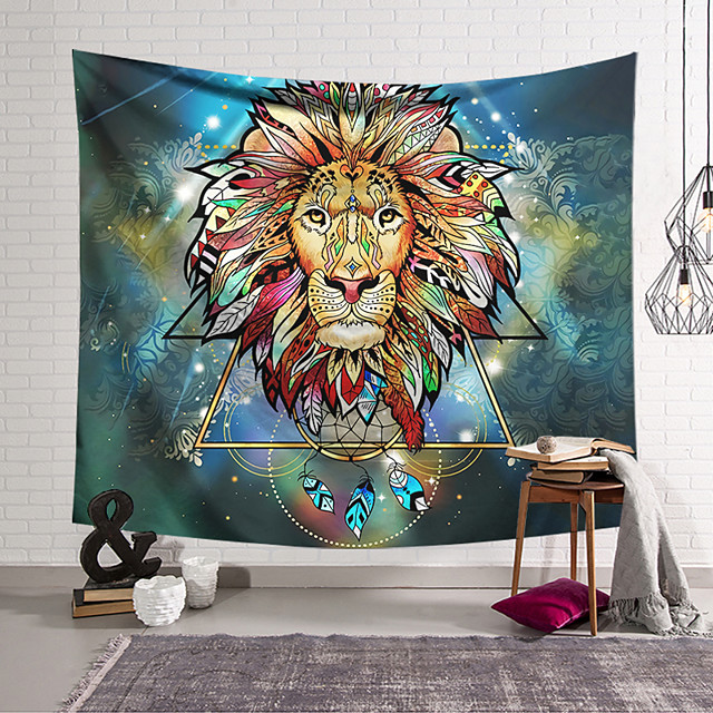 Wall Tapestry Art Decor Blanket Curtain Hanging Home Bedroom Living Room Decoration Polyester Lion Head