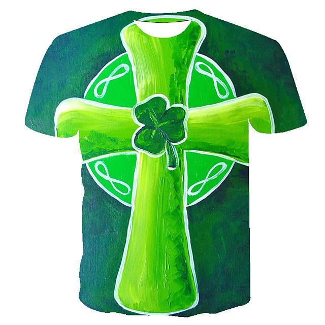 Men's T shirt 3D Print Floral Graphic Prints Saint Patrick Day 3D Print Short Sleeve Casual Tops Fashion Classic Light Brown Orange Green