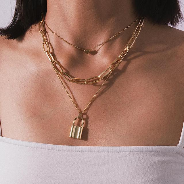 نسائي عقد القلائد الطبقات تكويم قلب موضة بانغك أوروبي سبيكة ذهبي فضي 35 cm قلادة مجوهرات 1PC من أجل شارع
