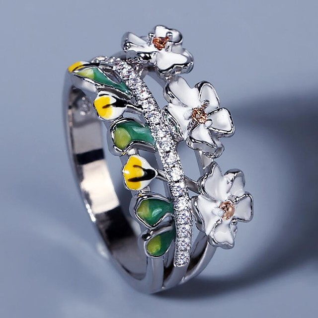Ring AAA Cubic Zirconia Two Stone Silver Brass Floral Theme Flower Elegant Fashion Sweet 1pc 6 7 8 9 10 / Women's
