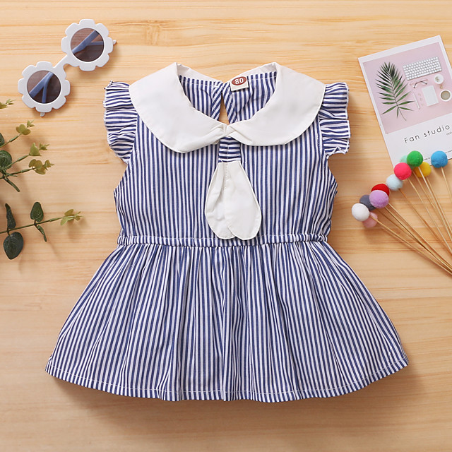 Toddler Little Girls' Dress Blue & White Striped Causal Ruched Ruffle Blue Asymmetrical Sleeveless Active Cute Dresses Regular Fit 1-3 Years