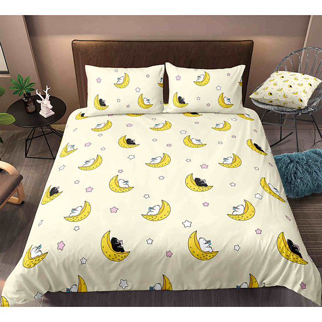 Cartoon Bear 3-Piece Duvet Cover Set Hotel Bedding Sets Comforter Cover with Soft Lightweight Microfiber, Include 1 Duvet Cover, 2 Pillowcases for Double/Queen/King(1 Pillowcase for Twin/Single)