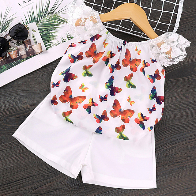 Kids Girls' Clothing Set Daily Wear Butterfly Graphic Print Sleeveless Active Basic White