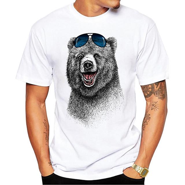 Men's Unisex T shirt Hot Stamping Bear Animal Plus Size Print Short Sleeve Daily Tops 100% Cotton Basic Casual White
