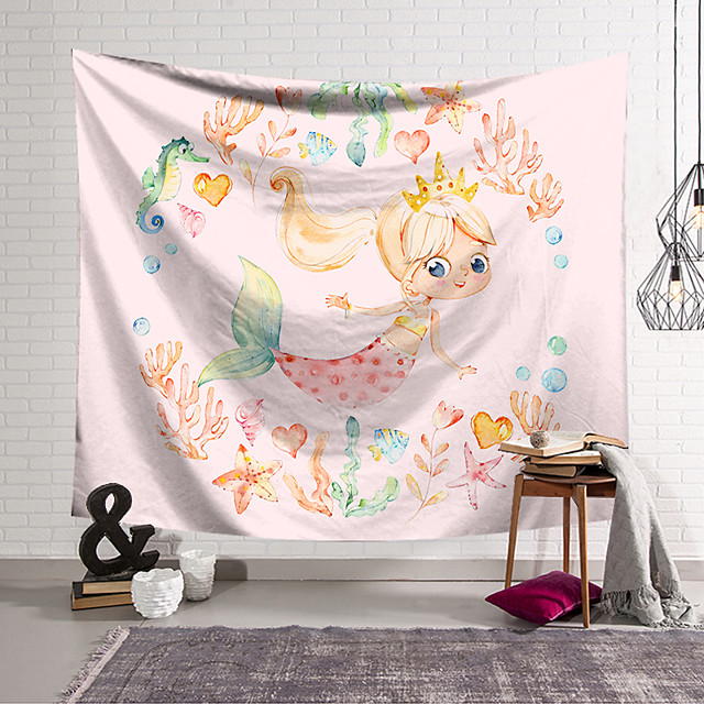 Wall Tapestry Art Decor Blanket Curtain Hanging Home Bedroom Living Room Decoration Polyester Mermaid Cute