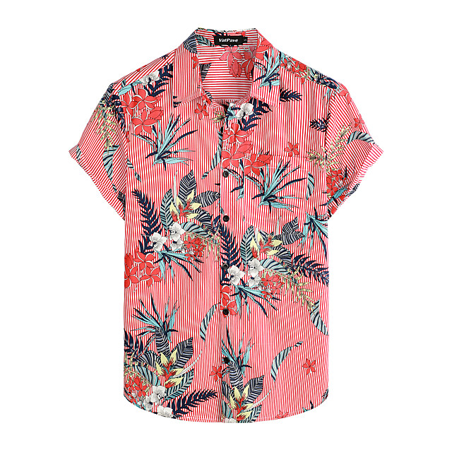 Shirt Men's Floral Daily Short Sleeve Tops Basic Boho 100% Cotton Red