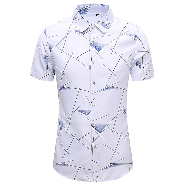 Men's Shirt Other Prints Geometry Short Sleeve Casual Tops White Navy Blue Gray