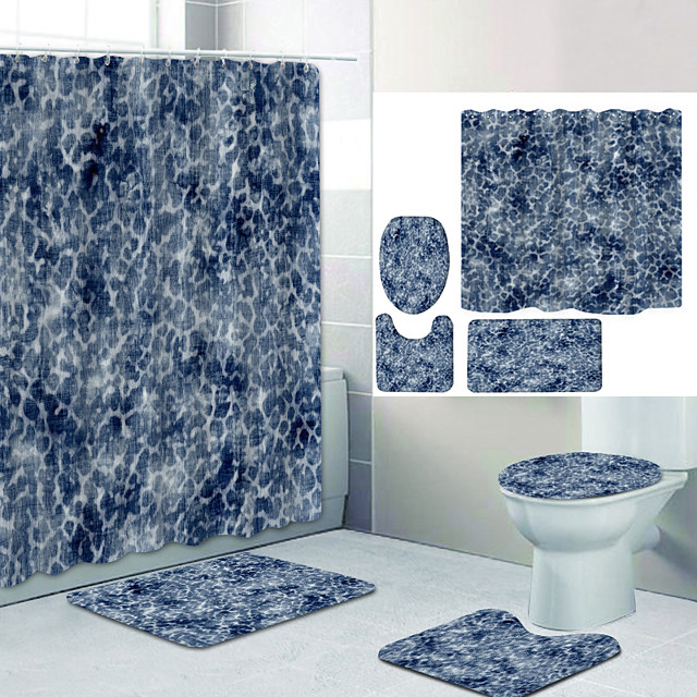 Simple Series 25 Digital Printing Four-piece Set Shower Curtains and Hooks Modern Polyester Machine Made Waterproof Bathroom