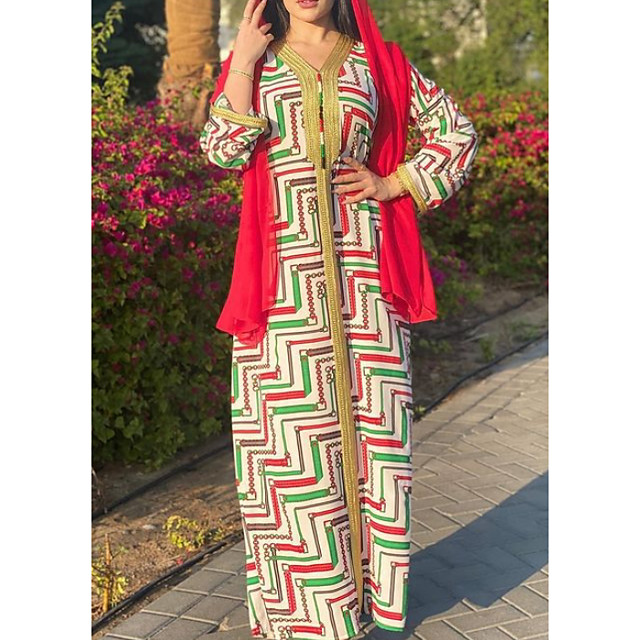 Women's Kaftan Dress Maxi long Dress Red Long Sleeve Solid Color Patchwork Summer V Neck Casual 2021 S M L XL XXL