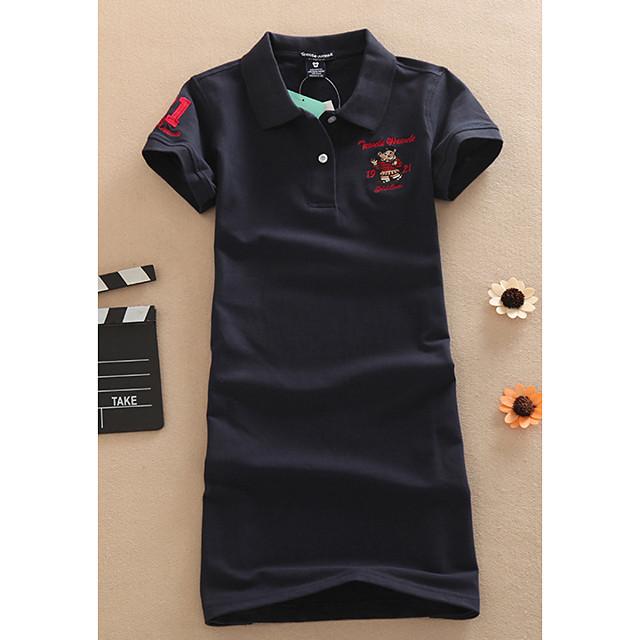 Women's T Shirt Dress Tee Dress Short Mini Dress Watermelon red 2007 black White Dark Blue Gray Short Sleeve Letter Print Summer Shirt Collar Elegant 2021 M L XL XXL XXXL