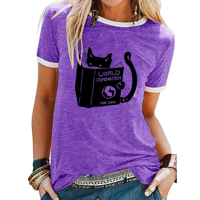 Women's T shirt Animal Patchwork Print Round Neck Tops Basic Basic Top White Blue Purple