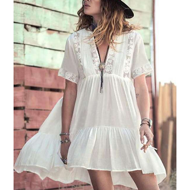 Women's Swimsuit Cover Up Beach Top Swimsuit Chiffon Lace Solid Color Geometric White Swimwear T shirt Dress Tunic Plunge Bathing Suits New Fashion Sexy