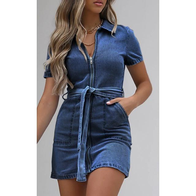 نسائي فساتين الدنيم فستان ميني داستي بلو أزرق فاتح كم قصير لون الصلبة بقع الصيف قبعة القميص كاجوال 2021 S M L XL XXL 3XL