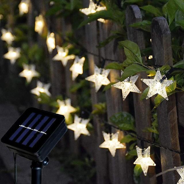 уличный солнечный свет струны солнечные светодиодные струнные светильники 6,5 м 30 светодиодов звезда снежинка открытый водный бассейн с 8 режимами наружные водонепроницаемые сказочные огни