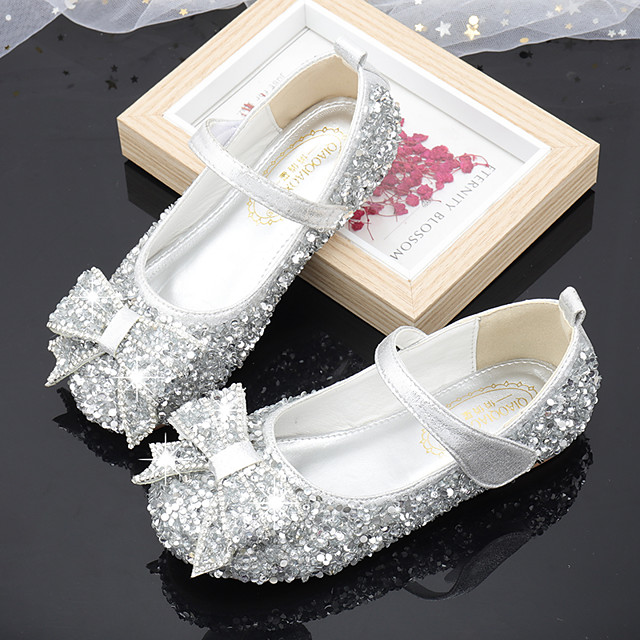 Girls' Flats Flower Girl Shoes Princess Shoes School Shoes Rubber PU Little Kids(4-7ys) Big Kids(7years +) Daily Party & Evening Walking Shoes Rhinestone Sparkling Glitter Buckle Pink Silver Fall
