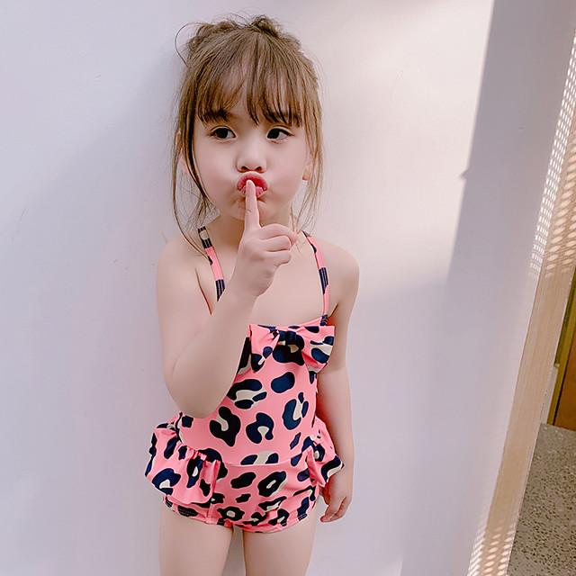 ملابس سباحة بدون كم جلد نمر للفتيات أطفال