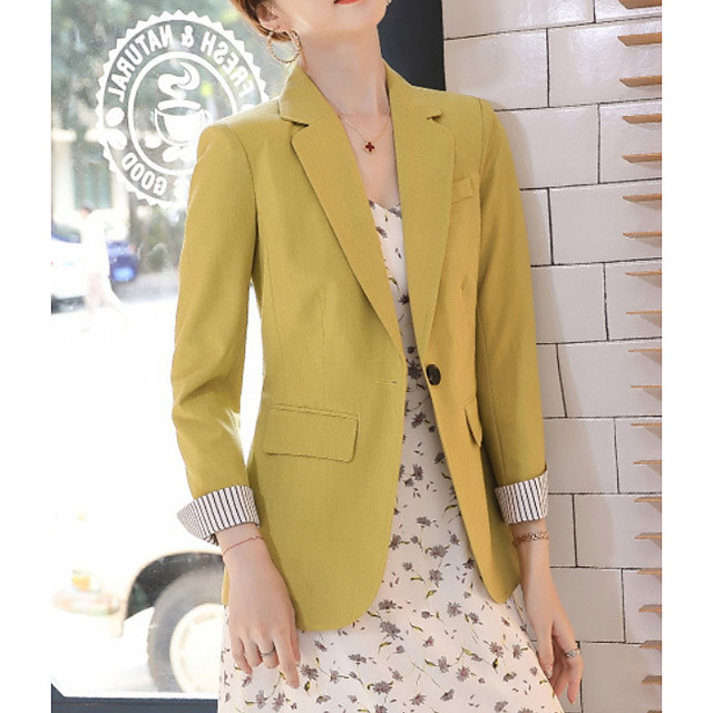 Black / Yellow Solid Colored Regular Fit Polyester Men's Suit - Notch lapel collar