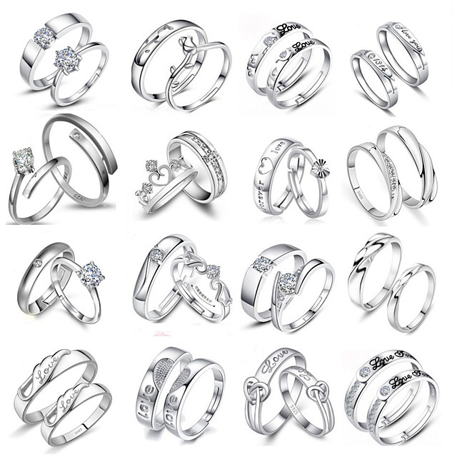 Couple Rings Silver Heart Classic 1 set Adjustable
