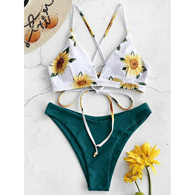 Women's Bikini 2 Piece Swimsuit Strappy Wrap Floral Yellow Green Light Green Swimwear Bathing Suits