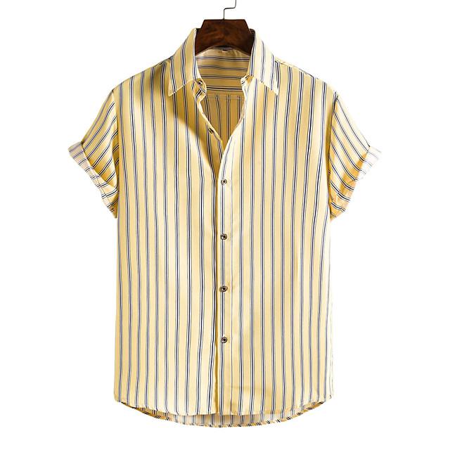 رجالي قميص مطبوعات أخرى حمار الوحش قميص بياقة طباعة كم قصير مناسب للبس اليومي قمم نمط الشاطئ بوهو أصفر