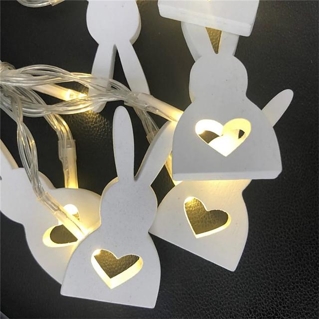 1m 2m guirlande lumineuse 10/20 LED 1pc lapin design blanc chaud fête de pâques décorative AA piles alimentées
