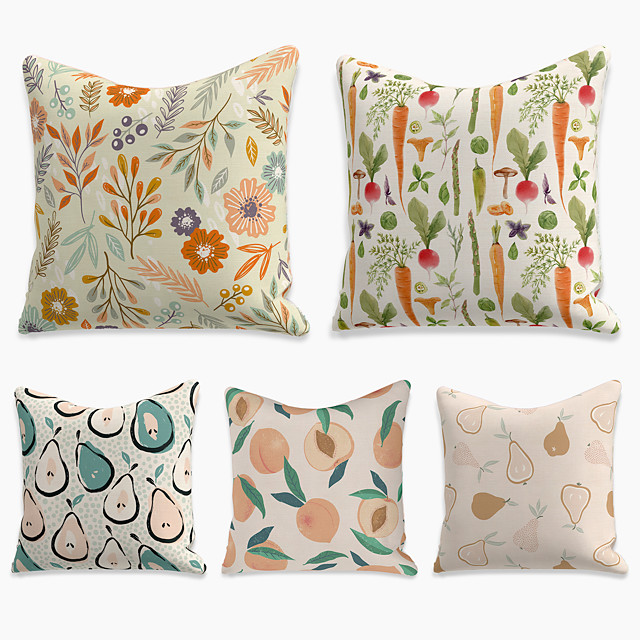 5 pcs Linen Pillow Cover, Floral&Plants Square Zipper Polyester Traditional Classic