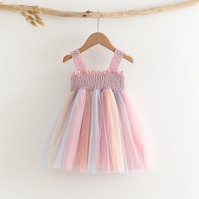 Kids Little Girls' Dress Patchwork Sundress Mesh Patchwork Blushing Pink Cotton Sleeveless Basic Cute Dresses Regular Fit