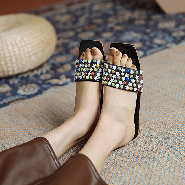 Women's Sandals Chunky Heel Square Toe PU Synthetics Black Yellow